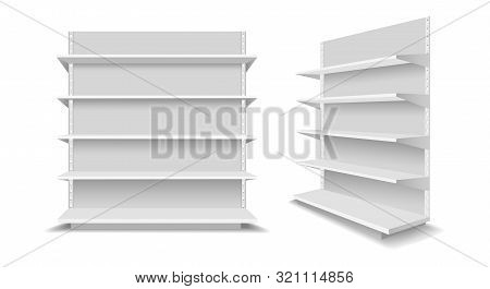 Empty Showcase Racks. Advertising Blank Supermarket Shelves, Shopping Mall Empty Retail Products Sho