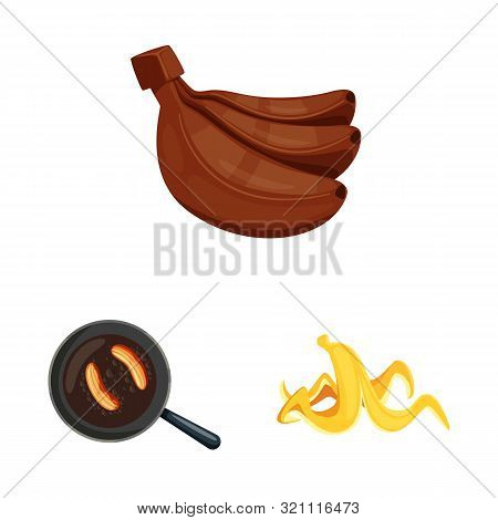 Vector Design Of Tropical And Ripe Symbol. Set Of Tropical And Potassium Stock Symbol For Web.