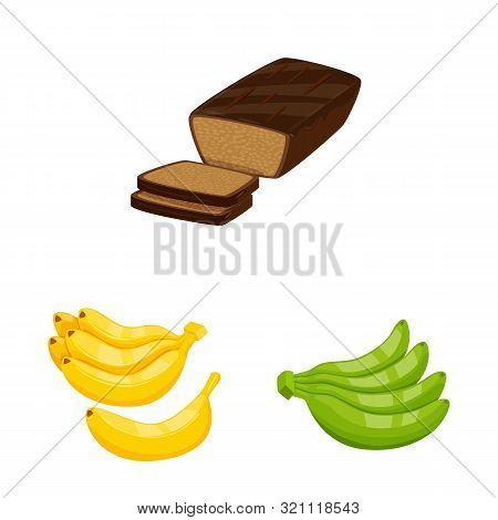 Isolated Object Of Tropical And Ripe Sign. Set Of Tropical And Potassium Stock Vector Illustration.