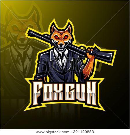 Fox gun esport logo design with text poster