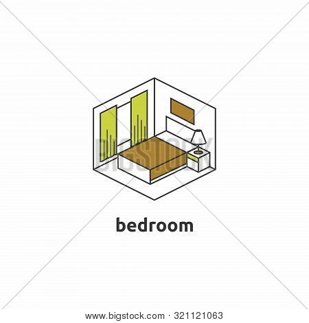 Icon Bedroom In Isometric View. Minimalistic Icon With A Minimum Number Of Colors And Lines