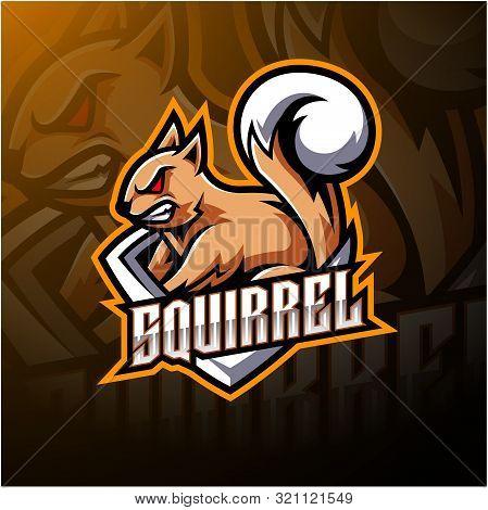 Squirrel esport mascot logo design with text poster