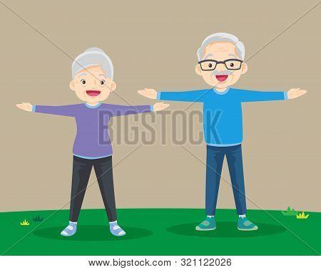 Grandparents Doing Exercises. Sport. Morning Exercises.senior People And Gymnastics. Elderly Couple.