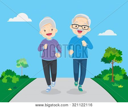 Happy Fit Senior Couple Exercising In Park.eldery People Character Runs. Pensioners Jogging Together
