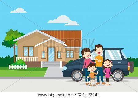 Happy Family In The Background Of His Home And Car.happy Family In The Background Of His Home. Fathe