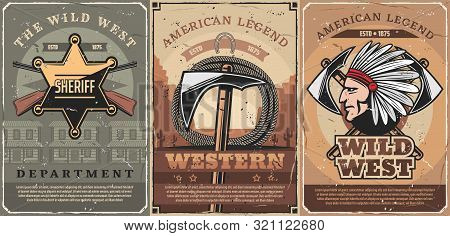 Wild West Crossed Guns, Tomahawk And Rope, Native Indian Vector. Retro American Weapon, Hatchet And