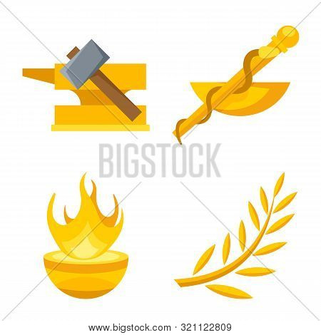 Vector Illustration Of Attributes And Greek Sign. Set Of Attributes And God Vector Icon For Stock.