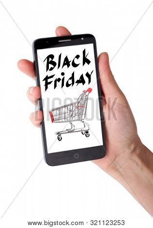 Smartphone in hand with black friday text on white background