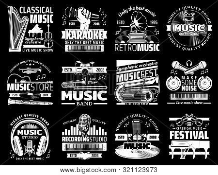 Vector Musical Instrument Stores And Shops, Symphonic Orchestra Harp And Piano, Karaoke Club, Live M