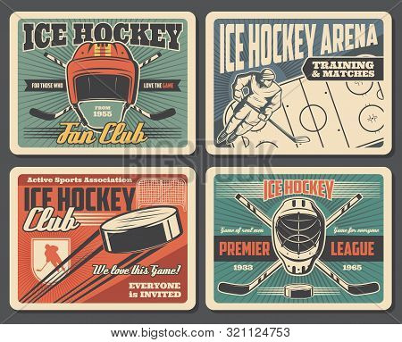 Ice Hockey Sport Association And Training Equipment, Retro Style. Vector Puck Flying To Gates On Are