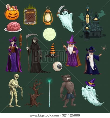 Halloween Vector Icons With Pumpkin, Ghost And Bat, Horror Witch, Hat And Trick Or Treat Candy, Autu