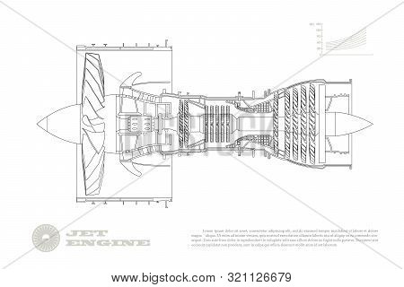 Jet Engine Of Airplane In Outline Style. Industrial Aerospase Blueprint. Drawing Of Plane Motor. Par