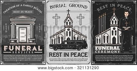 Funeral And Burial Service, Family Crypt, Catholic Church And Priest In Vector. Burial Ceremony Arra