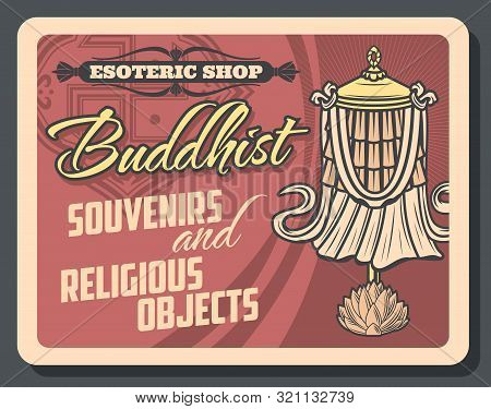 Buddhism Religion, Esoteric And Buddhist Souvenirs Retro Vector. Lotus Flower And Dhvaja Or Dhwaja F