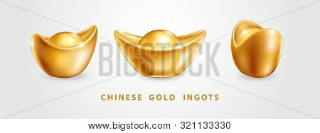 Set Of Three Vector Realistic Chinese Gold Ingots Yuan Bao Isolated On White Background. Decoration