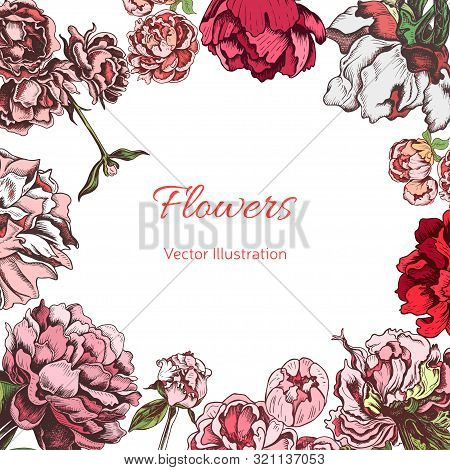 Hand Drawn Sketch Wedding Illustration Peony Flowers. Vector Templete Save The Date.