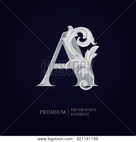 Elegant Letter A With Floral Baroque Ornament. Antique Capital Letter Is Surrounded With White Decor