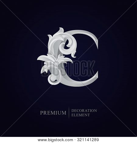 Elegant Letter C With Floral Baroque Ornament. Antique Capital Letter Is Surrounded With White Decor