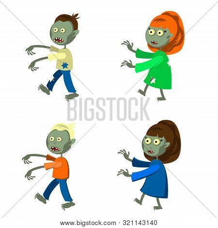 Set Of A Zombies Isolated On White Background. Zombie Men And Women In Cartoon Style. Vector Illustr