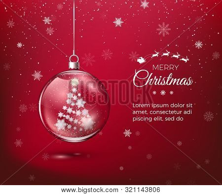 Marry Christmas. Transparent Glossy Christmas Decoration. Christmas Tree Silhouette Made Of Paper Sn