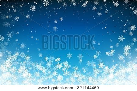 Snowfall Christmas Background. Flying Snow Flakes On Night Winter Blue Sky Background. Winter Wite S