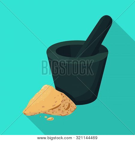 Vector Illustration Of Mortar And Ginger Logo. Set Of Mortar And Zingiber Stock Symbol For Web.