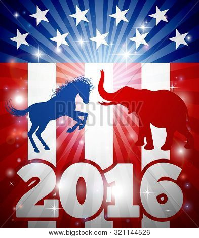 Election Concept Design Of A Blue Donkey Or Jackass And Elephant Party Mascots Fighting Each Other W