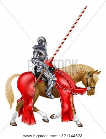 A Medieval Knight In Full Armour Holding A Red And White Stripped Lance Ready For A Jousting Tournam