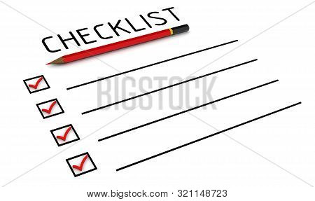 Checklist With Check Marks. Red Pencil And A Clean Checklist With Red Check Marks In Check Boxes. Is