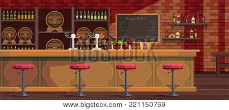 Beer Bar Interior Cartoon Vector Illustration. Empty Modern Pub Flat Drawing. Bar Counter, Stool. Ca