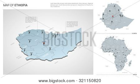 Vector Set Of Ethiopia Country.  Isometric 3d Map, Ethiopia Map, Africa Map - With Region, State Nam