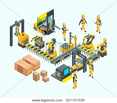 Factory Isometric. Industrial Machinery Production Electronics Technology Manufacturing Vector Conce