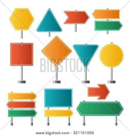 Road Signs. Traffic Highway Dirrection Travel Road Signs Vector Illustrations. Road Sign, Highway Em