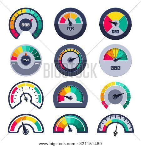 Speedometers Symbols. Indicate Level Score Meter Indices Measure Vector Templates. Illustration Mete