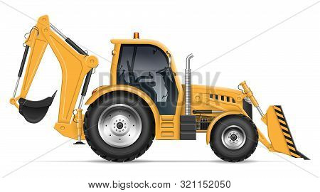 Backhoe Loader View From Side Isolated On White Background. Construction Vehicle Vector Template, Al