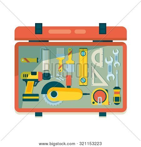 Instrument Toolbox. Repair Equipment For Workers Carpenter Items With Saw Hammer Roulette Vector Con