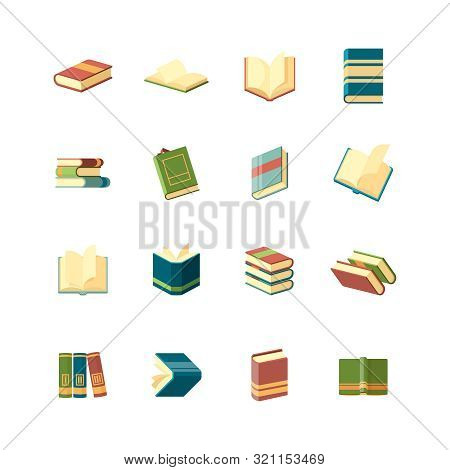 Books Collection. Simple Icon School Library Publishing And Magazines Covers Vector Flat Books Symbo