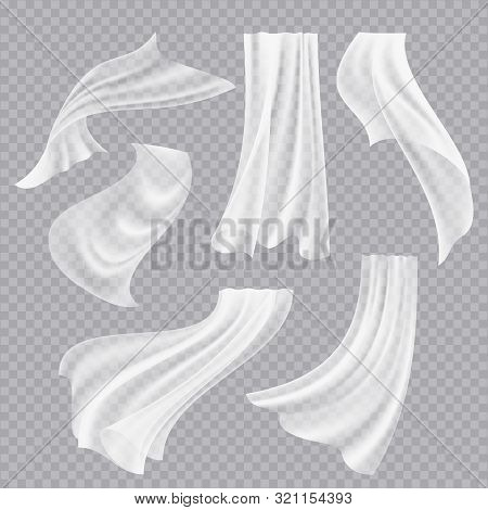 Flying Curtains. White Blank Clothes Transparent Fabric Decorative Twisted Flowing Silk With Folds V