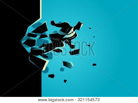 Silhouette Illustration Of A Businessman Breaking The Wall. Business, Breakthrough, Success, Challen