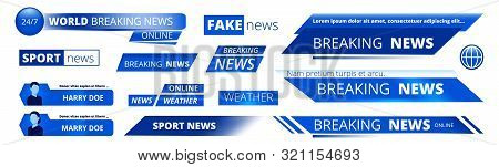 Breaking News. Broadcasting Banners Tv Sport Weather Video Interface Vector Graphic. News Broadcasti