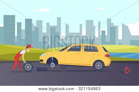 Roadside Assistance. Vector Tire Fitting Service. Cartoon Car Mechanic Changing Car Wheels On Road I