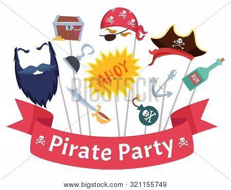 Party Mask. Pirate Hats Beard Hairs Hook Bandanas Mascarade Costumes Vector Collection. Mask Photobo