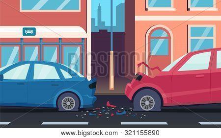 Crash On Road. Accident Highway Fast Car Driver Damaged Transport Vector Cartoon Background. Illustr