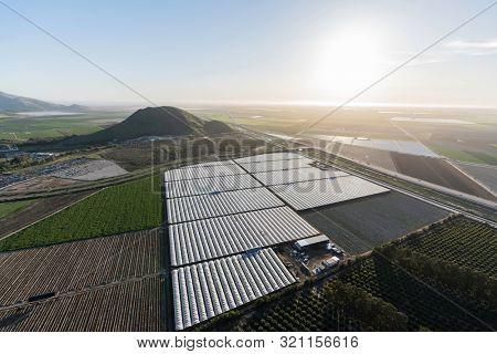 Aerial view of coastal farm fields near Oxnard and Camarillo in scenic Ventura County, California.