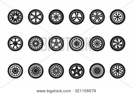 Car Wheel Collection. Automobile Tire Silhouettes Racing Vehicle Wheels Vector Pictures. Illustratio