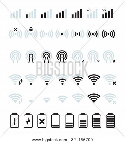 Phone Mobile Signal. Wifi And Mobile Status Bar Connection Icon Gsm Batteries Level Vector Pictures.