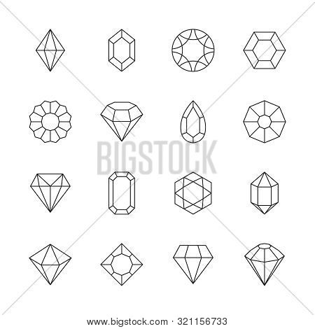 Diamond Icon. Jewels Outline Symbols Gems Stones Geometrical Polygonal Forms Vector Collection. Illu