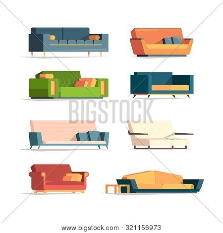 Flat Sofa. Soft Furniture Divan Couch Canaps Luxury Armchairs Vector Collection. Illustration Couch