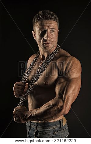 Feeling Athletic And Strong. Athletic Man On Black Background. Muscular Athlete With Athletic Frame.