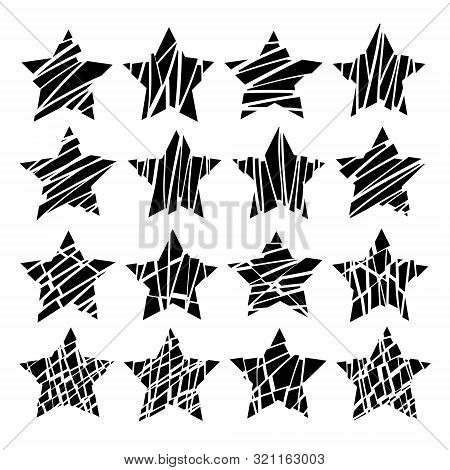 Smashed Stars, Set Of 16 Vector Icons On A White Background